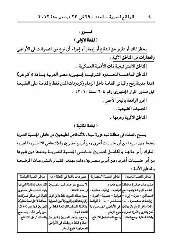 قرار السيسي بخصوص تملك أراضي سيناء