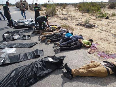 """صورة مزعومة لمقتل جنود الأمن المركزي بالقرب من """"أبو طويلة"""" في رفح - أغسطس 2013"""