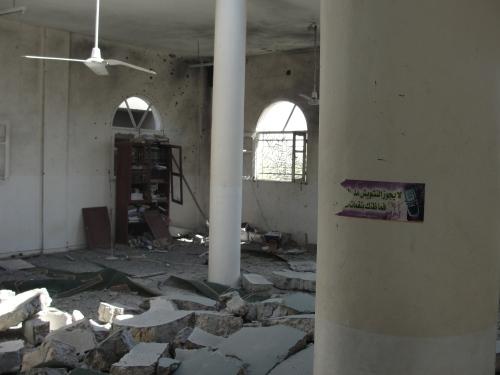 """من آثار الدمار داخل مسجد """"أبو منير"""" بقرية المقاطعة - الصورة التقطت الثلاثاء 10 سبتمبر 2013"""